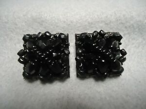 Antique Gold and Black Square Gem Plastic Sparkle Clip on Earrings 1980s