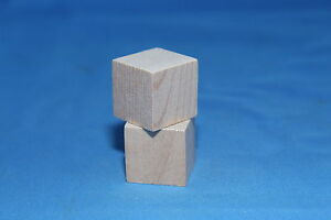 2-Pc-Memory-Cube-Block-1-034-Lot-New-Raw-Unfinished-Wood-Craft-Made-in-USA