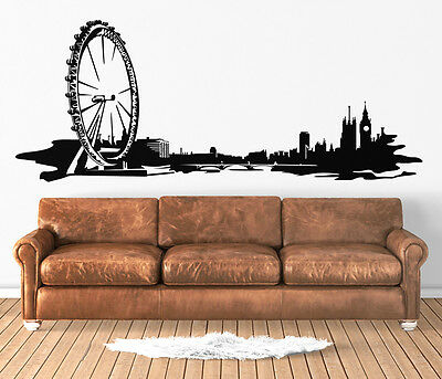 London Skyline Wall Art Decal Vinyl Sticker Decor Mural Transfer City Eye Thames