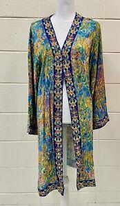 SOFT SURROUNDINGS Embroidered Floral Multi Colored Open Kimono Jacket Sz L