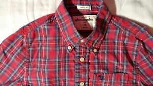 Abercrombie-Boys-Long-Sleeve-Button-Down-Plaid-Muscle-Shirt-Size-XL
