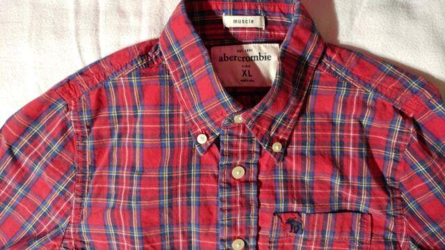 Abercrombie Boys Long Sleeve Button Down Plaid Muscle Shirt Size XL