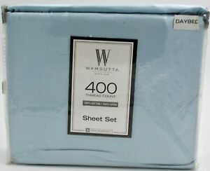 Wamsutta-400-Thread-Count-100-Cotton-Solid-Sateen-Day-Bed-Light-Blue-New
