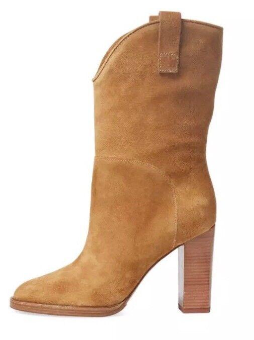 Sigerson Morrison Elisa High Heel Suede Boot Caramel Women Sz 9.5 B 5660 *