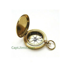 """Small Brass Dalvey Style Compass Gold Plated 1.9"""" w/ Gift Case Nautical Decor"""