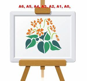 Dainty-Viola-Flowers-and-Leaves-Stencil-350-micron-Mylar-not-thin-stuff-FL021