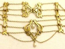 Antique Art Nouveau Jugendstil Murrle Bennett ? Silver Gilt Drop Pearl Necklace