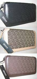 90-DKNY-Town-amp-Country-Classic-Organizer-Bag-Purse-Wallet-Zip-Around-Clutch-New