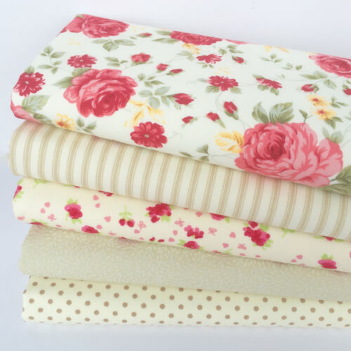 English Garden Roses cream /& beige floral 5 piece fat quarter bundle 100/% cotton