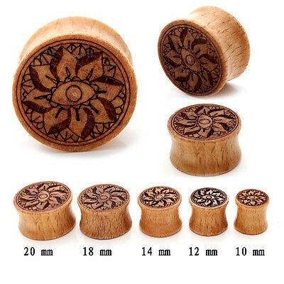 Wood Ear Plug Stretcher Natural Organic Wooden Expander Flesh Tunnel 10 - 20mm