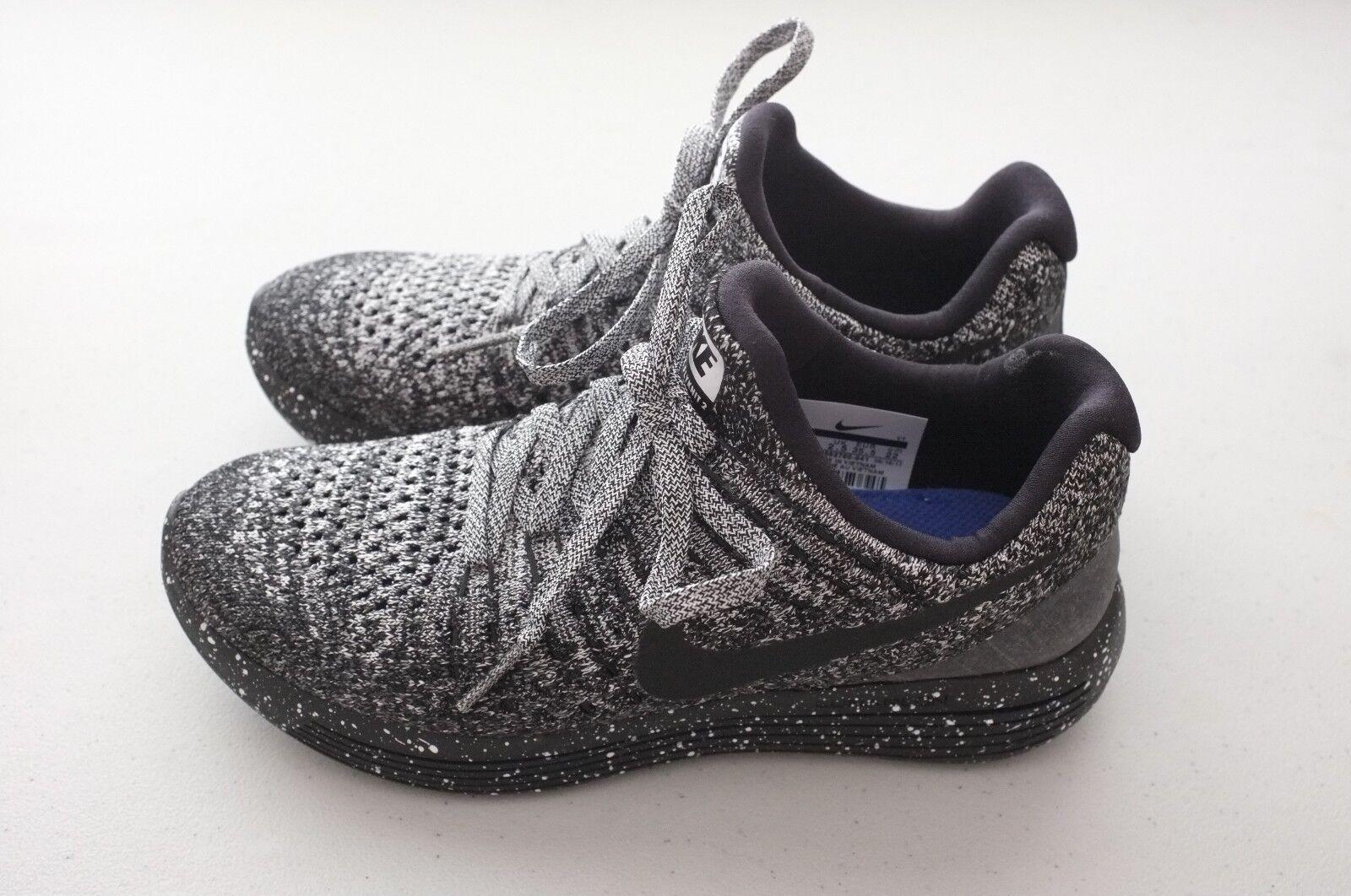 Nike Womens Lunarepic Low Flyknit 2 Running shoes Black White Sz 5 (863780-041)