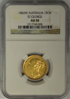 1882M Australia Gold Sovereign, NGC AU 50. Queen Victoria, Young Head. Melbourne
