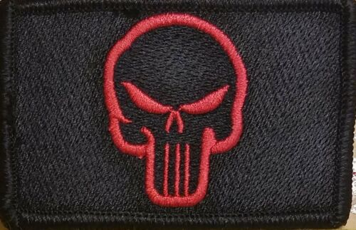The Punisher Patch W// VELCRO® Brand Fastener Tactical Morale Red Version #4