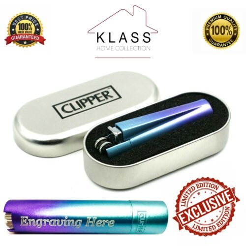 CLIPPER METAL LIGHTER WITH FREE ENGRAVING PERSONALISED GIFT BOX BLUE GRADIENT
