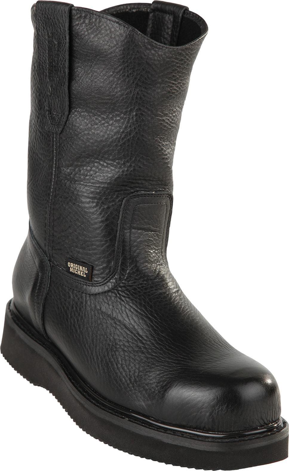 Men's Original Michel Genuine Leather Pull On Western Work Boots Steel Toe