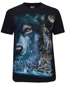 Front /& Back Print M-2XL Wolf Pack Biker Native American Indian Animal T Shirt