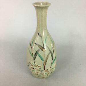 Japanese Ceramic Flower Vase  Kabin Vtg Mino ware Gray Pottery Ikebana FV783