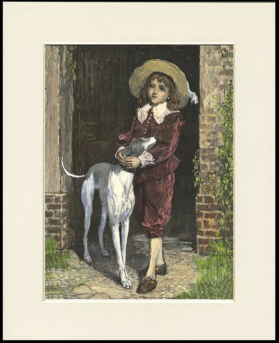 GREYHOUND BOY AND DOG CHARMING DOG PRINT MOUNTED READY TO FRAME