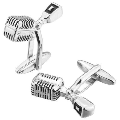 2 PCS Rhodium Rhodiniert Manschettenknoepfe Silber Musik Mikrofon Hemd H F4O1 5X