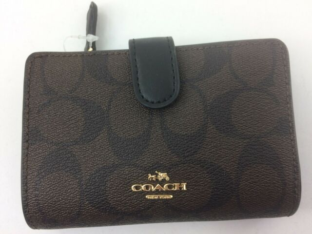 New Authentic Coach F23553 Medium Corner Zip Wallet Signature Leather Brown BLK