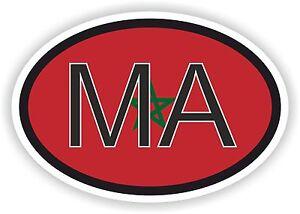 MARRUECOS-MA-Africano-Codigo-Pais-OVALADO-Bandera-Pegatina-Parachoques-CAR-MOTO