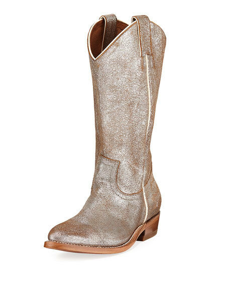 New in Box Womens Frye Billy Metallic Western Boots Silver Size 6.5 M MSRP   298
