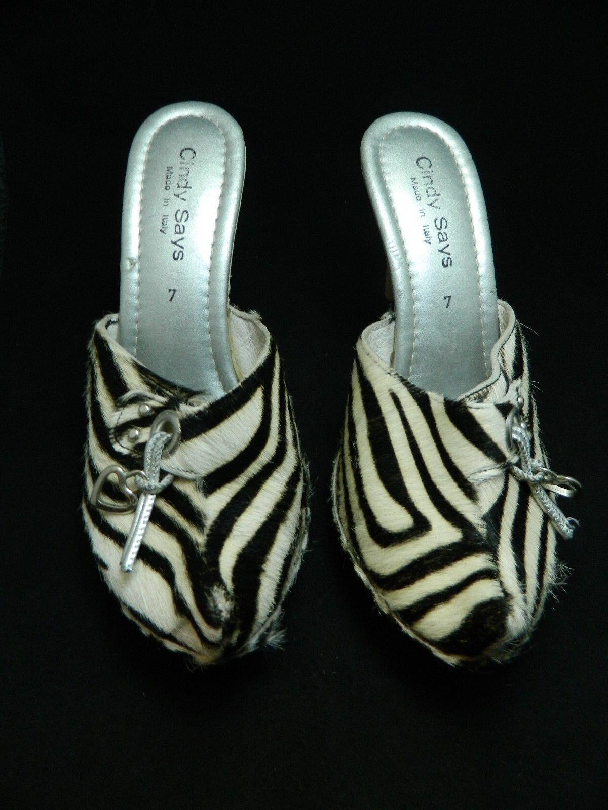 Cindy Says Clogs Clogs Clogs Zebra Black White Pony Hair Black Calf Pumps  Sz 7 bf3003