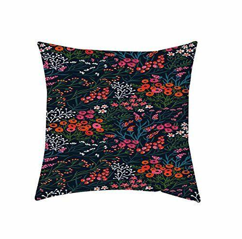Floral Cushion Cover Satin Pillow Case Sofa Home Decor Navy Blue Sofa Cover