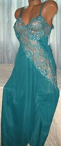 Cross-Dyed-Lace-Long-Nightgown-1X-Nylon-Persian-Green-Slit-Plus-Size