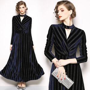 c3e98498b418 Caricamento dell immagine in corso vestito-lungo-abito-scampanato-donna- elegante-blu-velluto-
