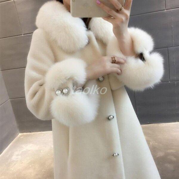 Women Cashmere Cashmere Cashmere Real Fox Fur Collar Shearling Mid Long Coat Outwear overcoat Warm 11ea4b
