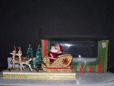 VINTAGE SANTA REINDEER SLEIGH CHRISTMAS TREE SNOW JAPAN HOLIDAY ORNAMENT NIB!!!!