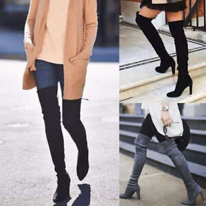 Womens-Ladies-Thigh-High-Boots-Over-The-Knee-Party-Stretch-Block-Mid-Heel-Newest
