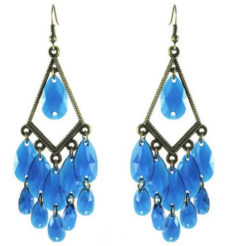 CJ036 Sheer Water Drop Bead Earrings 12 Colors Bronze Rhombus Chandelier Eardrop