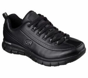 Skechers-Work-Black-Shoes-Women-Memory-Foam-Slip-Resistant-Leather-EH-Safe-76550