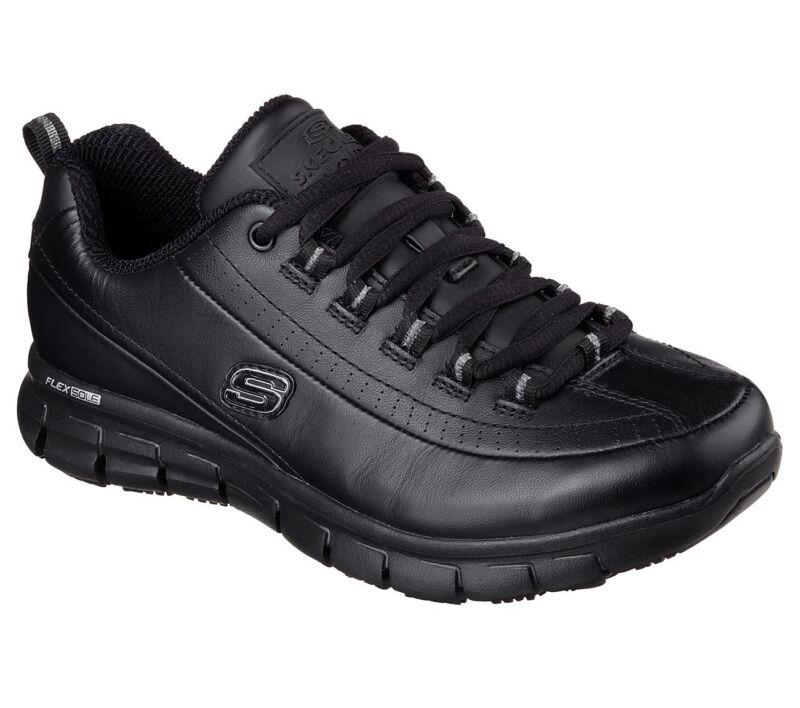 76550 Black Skechers Shoes Women Memory Foam Work Slip Resistant Leather Eh Safe