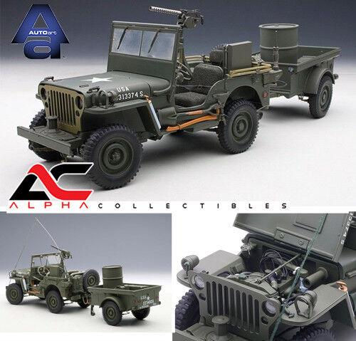 Autoart 74016 1 18 Jeep Willys verde Militar Con Remolque Y Accesorios