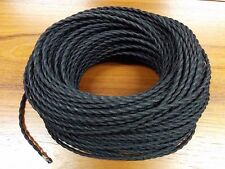 (5 ft) 2-Wire Twisted Cloth Covered Wire Antique Pendant Lamp Fan Cord Black