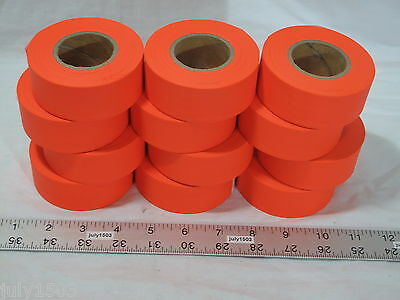 """12 NEW Rolls Orange Flagging Tape 1-3//16/"""" x 300/' 2 mil Trail Marking"""