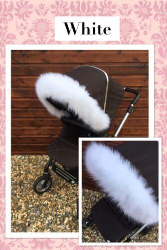 FAST DELIVERY, EGG PRAM pram hood fur pushchair buggy fur trim