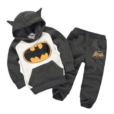 Baby Kids Children Batman Tops Hoodie Sweatshirt Two-pieces Outfits Set 2-7Y CA