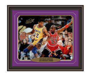 Magic-Johnson-Signed-amp-Framed-Lakers-16x20-PSA-DNA-COA-Michael-Jordan-Autograph