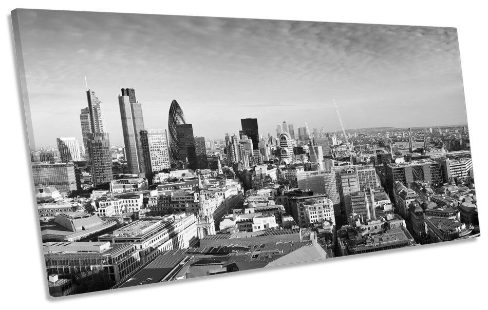 London City Sunset Skyline B&W PANORAMIC CANVAS WALL ART Print Picture