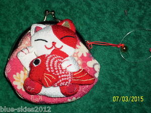 Gorgeous-RED-CAT-COIN-PURSE-with-FISH-amp-Cat-BELL-Lined-Clip-fasten-Bag-WalletNew
