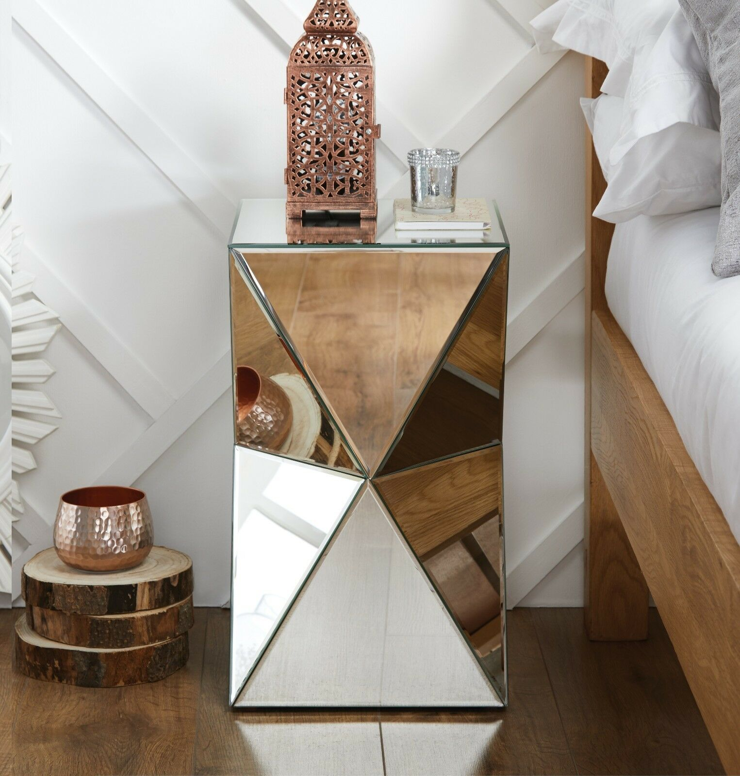Details about DIAMOND Mirrored Mirror Bedside Bed Side Coffee Table Stand  Living Room Bedroom