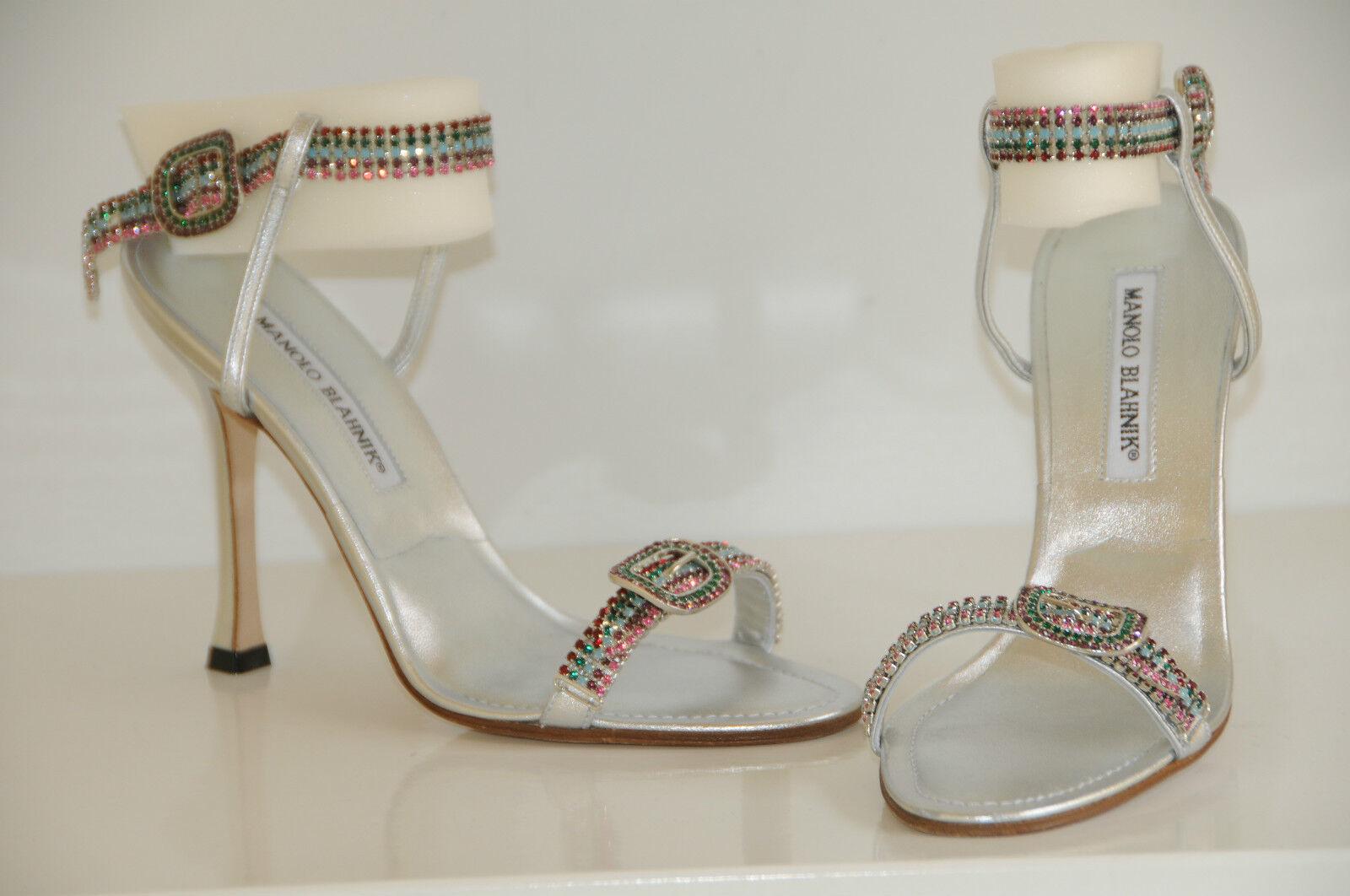 New MANOLO BLAHNIK SHOES JEWELED Crystals Silver JANETBA SHOES BLAHNIK 38.5 8 Wedding 1459d5