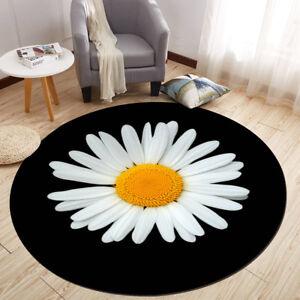 Black Background Daisy Flower Round Floor Mat Bedroom Rug Living