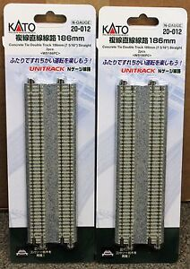 LOT of 2 - N Scale KATO UNITRACK 20-012 Straight Track 186mm 2 Pieces per Pack