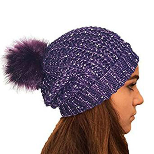 LADIES CHUNKY KNIT SLOUCH BEANIE WITH SPARKLE ACCENT SEQUINS