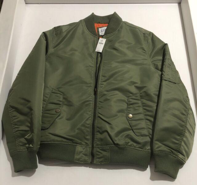Vintage Unisex kiwi Green Black Reversible puffed Bomber Jacket tall S L